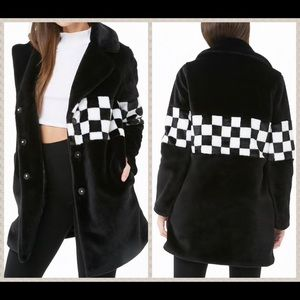 NWT Black & white faux fur longline coat